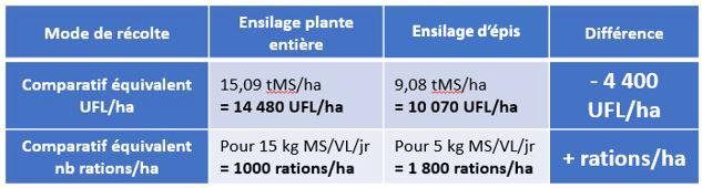comparatif plante entière et ensilage d'épis maïs