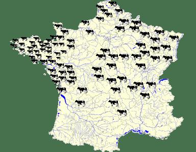 """Carte de situation du réseau """"Les Preuves à l'Auge"""" en 2006"""